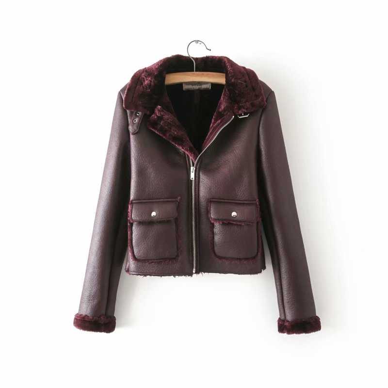 New Arrival Women Pu   Leather   Jacket Autumn Winter Warm Fleece Coats Zippers Double Pockets Female Short Outerwear Clothes