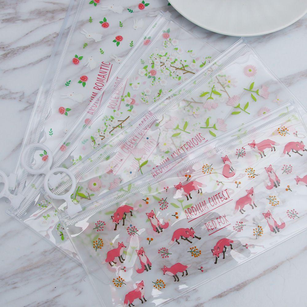 ISKYBOB 1pcs Newly Mini Travel Makeup Bag Cute Rabbit Fox Flower Small Cosmetic Tote Bag Unisex PVC Purse Pouch Transparent Bag