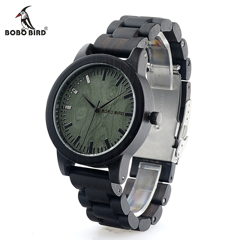 BOBO BIRD 2017 New Arrival V-M4 Ebony Men Watch Top Luxury Brand All Wood Quartz Wristwatch in Gift Box reloj hombre bobo bird wh05 brand design classic ebony wooden mens watch full wood strap quartz watches lightweight gift for men in wood box
