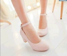 2015 spring women's shoes new plus size 39-42 single shoe sweet girl party shoes low thick heel candy color belt  work shoes