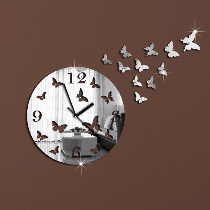 11 Butterflies Sculpture Art Modern Luxury Design DIY 3D Crystal Mirror Wall Clock Wall Sticker Living Room Bedroom Decor