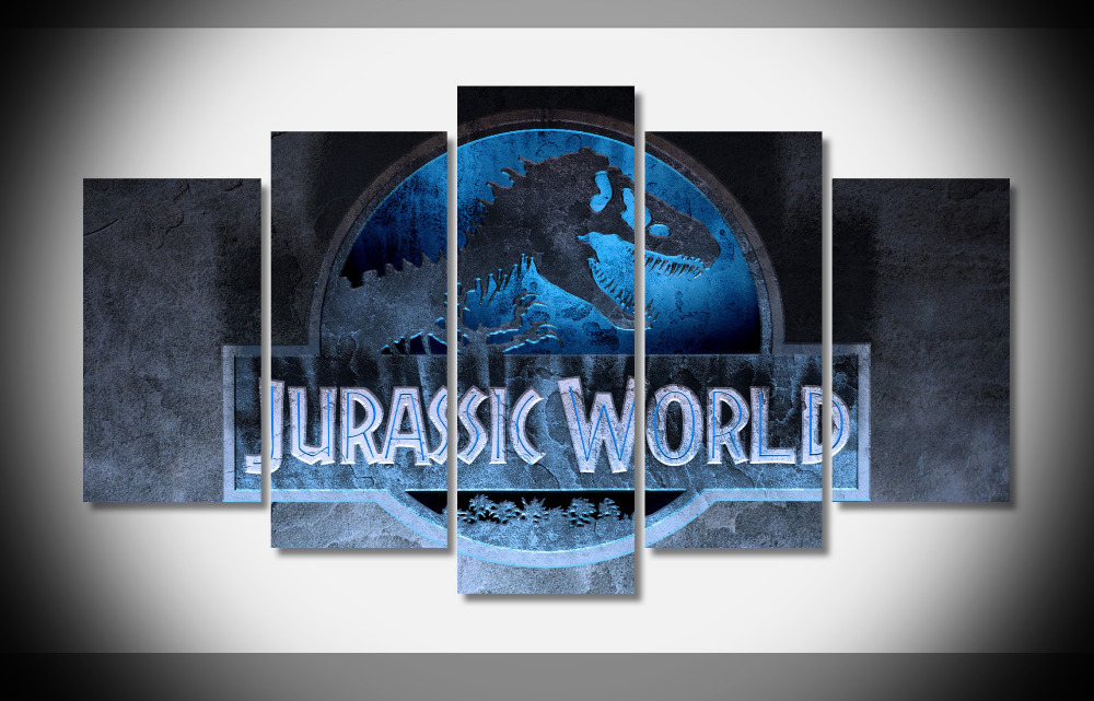 6953 Jurassic World 2015 Movie Logo Dinasaur WallpaperByte poster Framed Gallery wrap art print home wall decor wall picture
