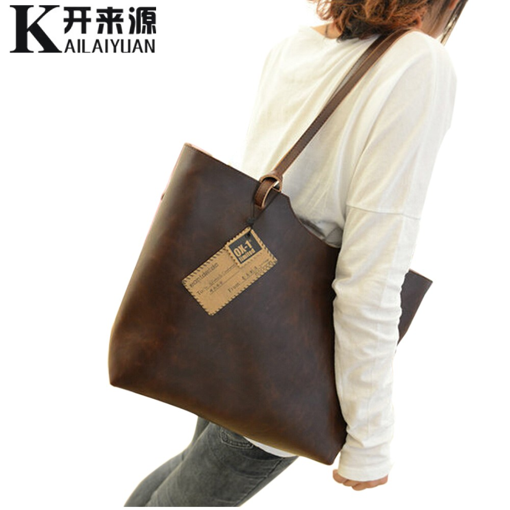 KLY 100% Genuine leather Women handbags 2018 New design women handbags vintage women shoulder bags large tote brown women bags new 100% handmade woven leather handbags tote women shoulder bags with detachable zipper pouch