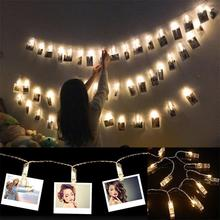 New 10 20 40 LED Photo Clip Led String Fairy Light Battery Powered Christmas Wreath Wedding Year Decoration