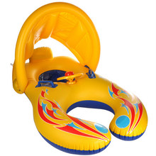 Baby Swimming Ring Pool Inflatable Float Kids Swimming Floats Seat Boat With Sunshade Inflatable Swim Pool Fun Toys(China)