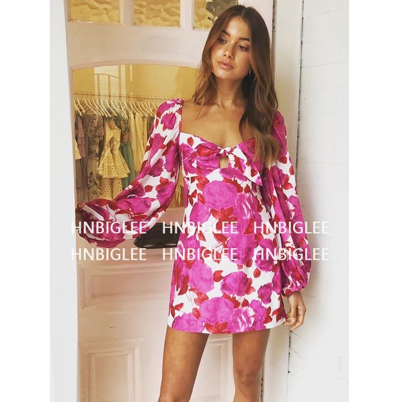 New Fashion 2019 Spring Runway Dress Women Cute Bow V neck Puff Sleeve Pink Floral Printed Slim Pencil Dress Silk Bohemian Dress