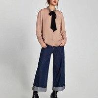 2018 Spring Woemn Pink Sweet Embroidery Beading Chiffon Shirt Ladies Peter Pan Collar Long Sleeve Lace