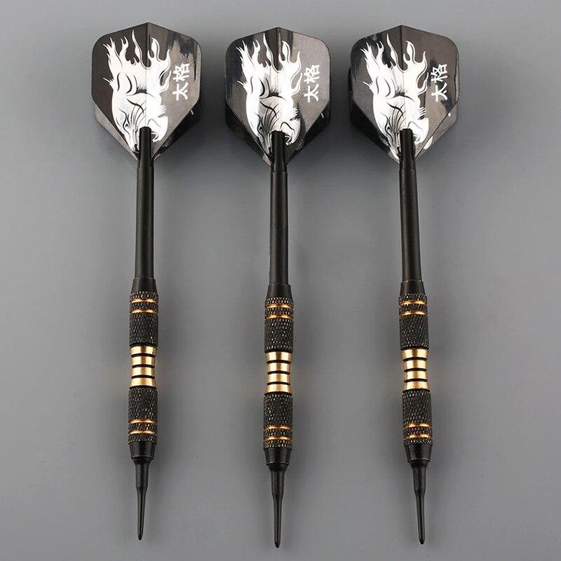 3PCS Black Professional Darts 18g Safty Soft Darts Electronic Soft Tip Dardos For Indoor Professional Dartboard Games(China)