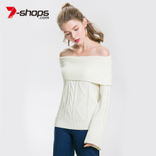 купить Ccibuy Sale Wool Off Shoulder Women Sweater Flare Long Sleeve Pullover Female Knitting Sweaters Plus Size Jumper White Kazak в интернет-магазине