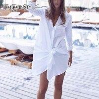 TWOTWINSTYLE Lace Up Dress Female High Waist Lapel Collar Long Sleeve White Mini Shirt Dresses 2018