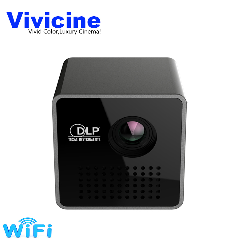 Vivicine P1 + WIFI Mini Proiettore, Formato Tascabile di Smart Micro Proiettore, Supporto Miracast DLNA Airplay, built-in Batteria Pico Beamer