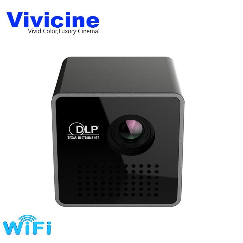 Vivicine P1 + WIFI Mini Proiettore, Formato Tascabile di Smart Micro Proiettore, Supporto Miracast DLNA Airplay, built-in Batteria Pico Beamer