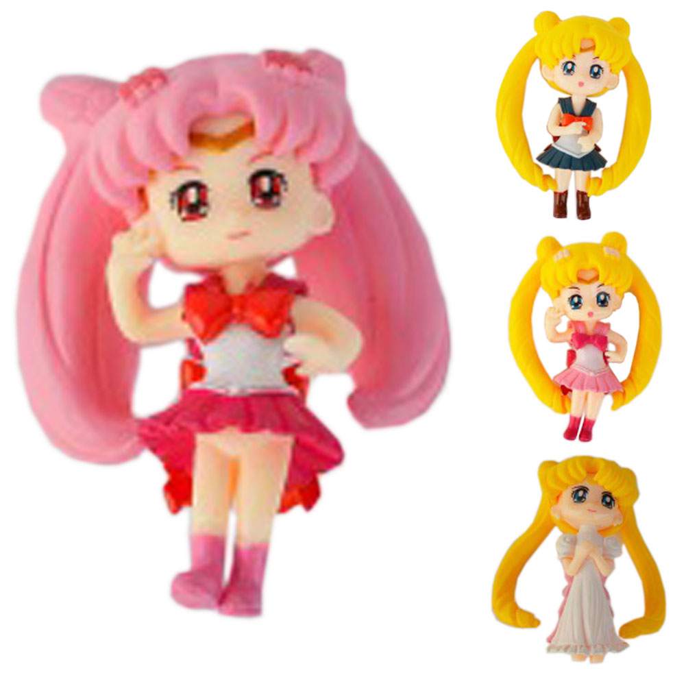 Color q online - 6cm Color Random Q Version Sailor Moon Tsukino Usagi Mars Jupiter Venus Figure Toy High Quality