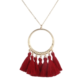 Boho Red Long Tassel Necklace