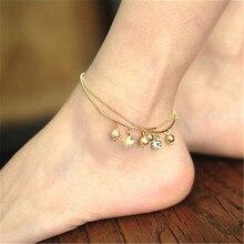 Popilarity Handmade Ankle Bracelet Crystal  Bell Pendant Chain Anklet Beach Anklets Foot Jewelry for Women Girl CC2552
