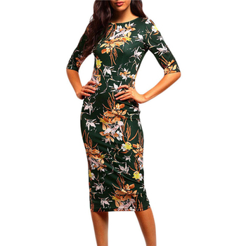 Dresses Women 2018 New package hip print open split AliExpress Explosion Dress Slim mid-sleeve pencil dress Vestidos HJY764 Платье