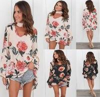 Carol Diaries 5pcs Lot Floral Print Chiffon Blouse Women Tops Halter Cool Long Sleeve Female Blouse
