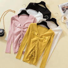 Milinsus Drawstring Double Pocket Women Sweater Deep V-neck Long Sleeve Slim Fit Pullover 2019 Autumn Winter Female Jumper Top