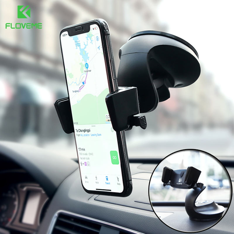 FLOVEME Auto Lock Car Phone Holder Dashboard Windshield Desk 3 In 1 Holders Stand For Phone In Auto Car Holder For IPhone X 8 7
