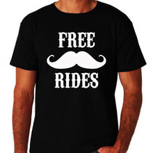 2c280baff45 Free Moustache Mustache Rides Hipster Funny Rude Novelty Mo New Black T-Shirt  Short Sleeve