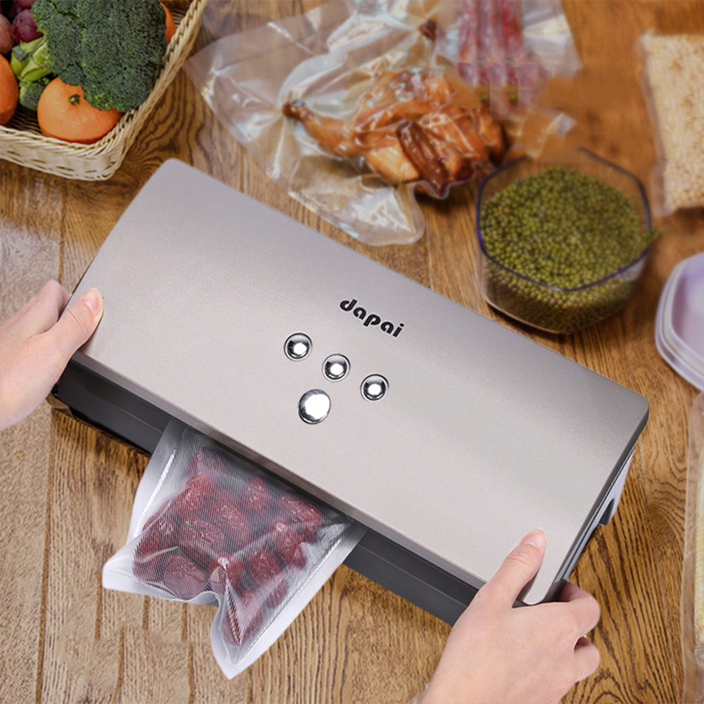 Dapai DS - 100 Vacuum Sealer Machine Fresh Storage System for Dry Moist Foods Preservation with Saver Roll 10pcs Bags kitcox70427sfc023803 value kit naturehouse fresh nap moist towelettes sfc023803 and glad forceflex tall kitchen drawstring bags cox70427