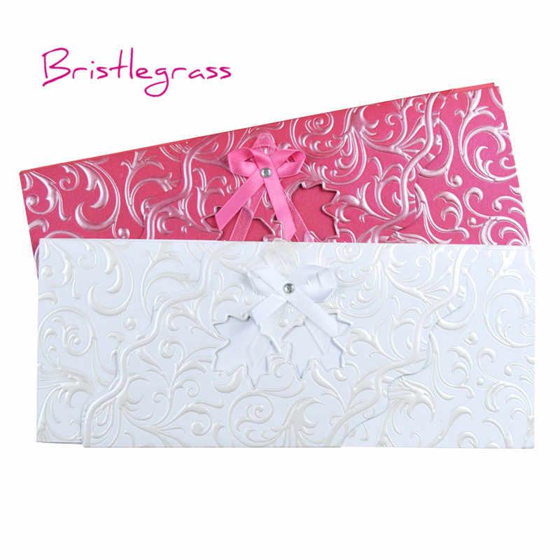 BRISTLEGRASS 1 Set Sample Ribbon Bowtie Maple Leaf Wedding Invitation Engagement Party Evening Invite Card Personalised Printing