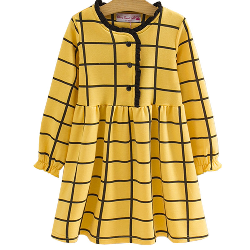 Girls Dress 2017 New Spring Autumn England Style Girls Clothes Long Sleeve Cartoon Green Plaid Princess Dresses For Kids