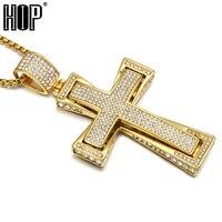 Hip Hop Micro Pave Vollen Rhinestone Edelstahl Iced Out Doppelschicht Kreuz Anhänger Halsketten für Männer Rapper Schmuck