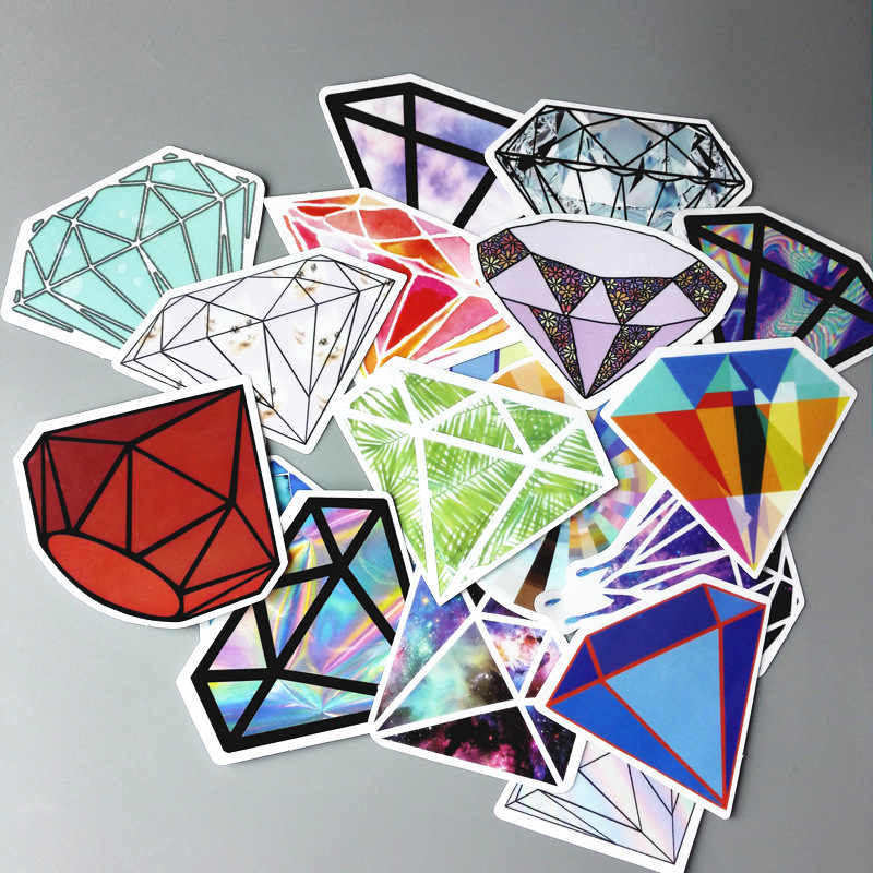 18Pcs/lot Transparent Diamonds Stickers For Snowboard Car Laptop Luggage Skateboard Motorcycle Decal Toy Sticker