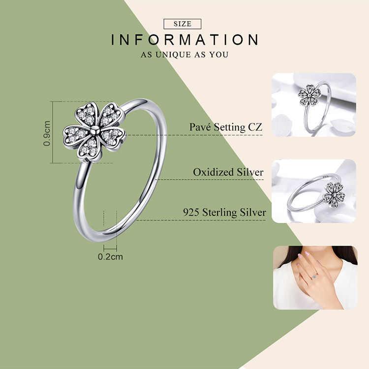 Bamoer duas cores moda elegante original 925 prata esterlina deslumbrante daisy flor anel claro cz casamento jóias scr398