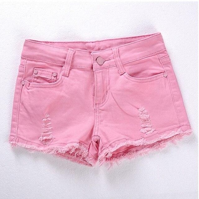 5f950b26d Novas Mulheres Casual Skinny Jeans Shorts Rosa Preto Branco Rasgado Buraco  Baixo-cintura Sexy Shorts