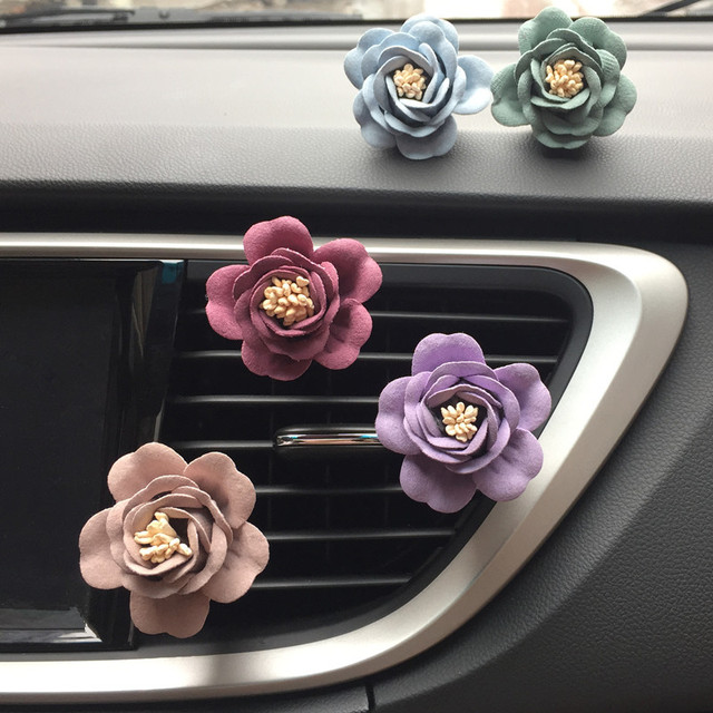Romantic Camellia Air Freshener with Clip Car Styling Perfume For Air Condition Vent Outlet, with 2 PERFUME FOR FREE