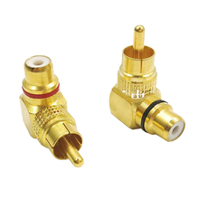 2pcs Brass RCA Right Angle  Connector Plug 90 Degree Adapters