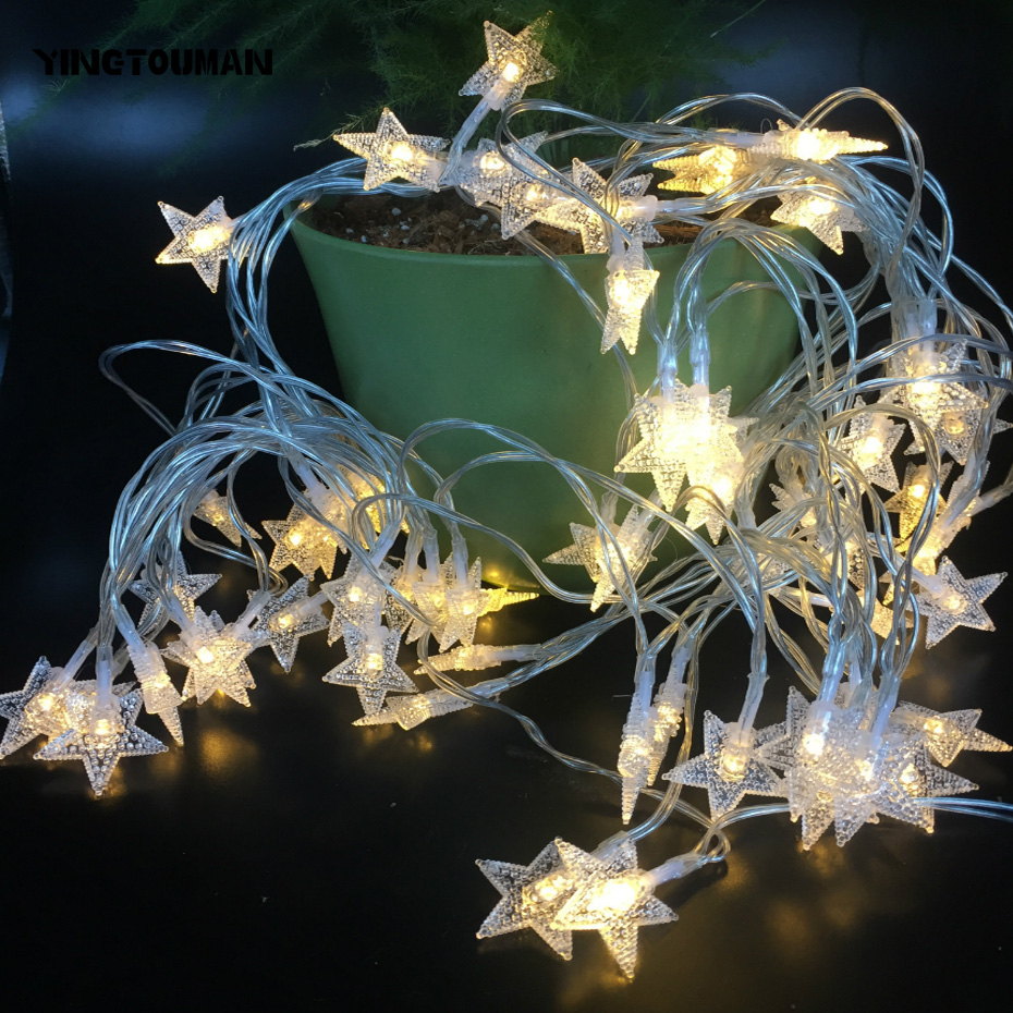 YINGTOUMANT 5pcs/lot 2018 Starry Star Lamp String Light Christmas Holiday Wedding Party Festival Decoration Lighting 6m 40LED