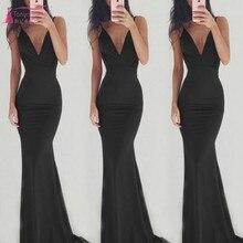 V-neck Sexy Slim Sling Backless Women's Dress Evening Dresses