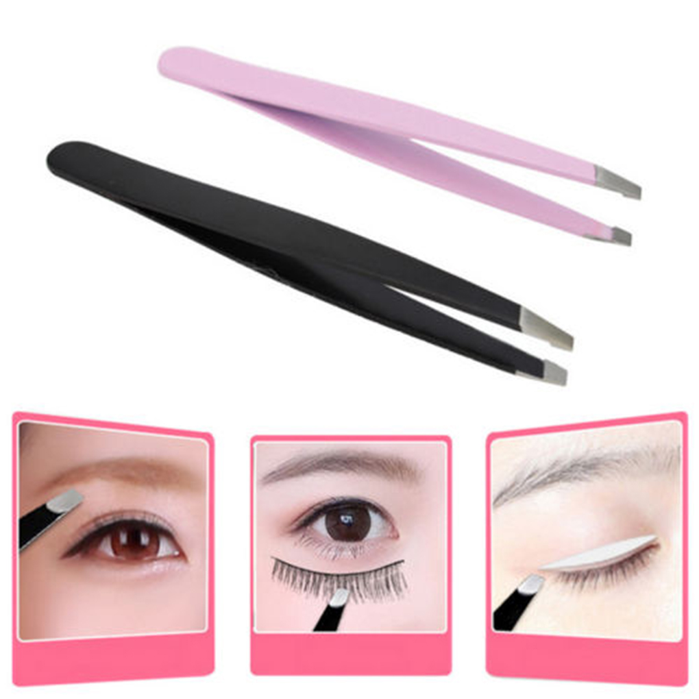 9.5CM Beauty Stainless Steel Slant Tip Eyebrow Tweezer Hair Facial Remover Makeup Tool