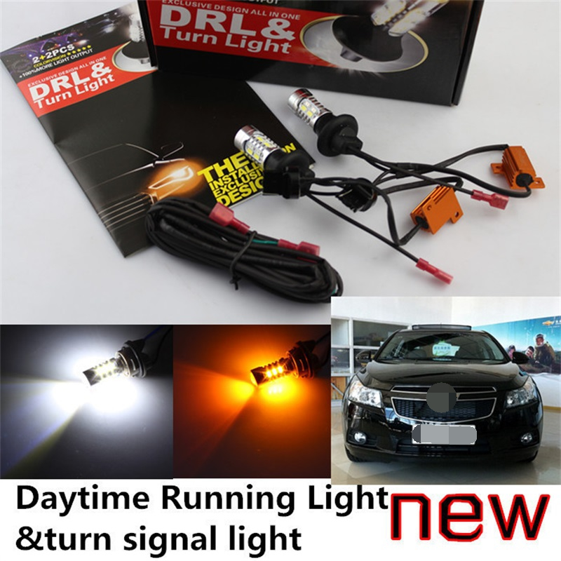 Tcart 2pcs Free shipping Car DRL LED Daytime Running Lights Turn Signals all in one high power PY21W For Chevrolet CRUZE SPARK high quality car central station mat sticker for chevrolet cruze black 1pcs free shipping kl12329