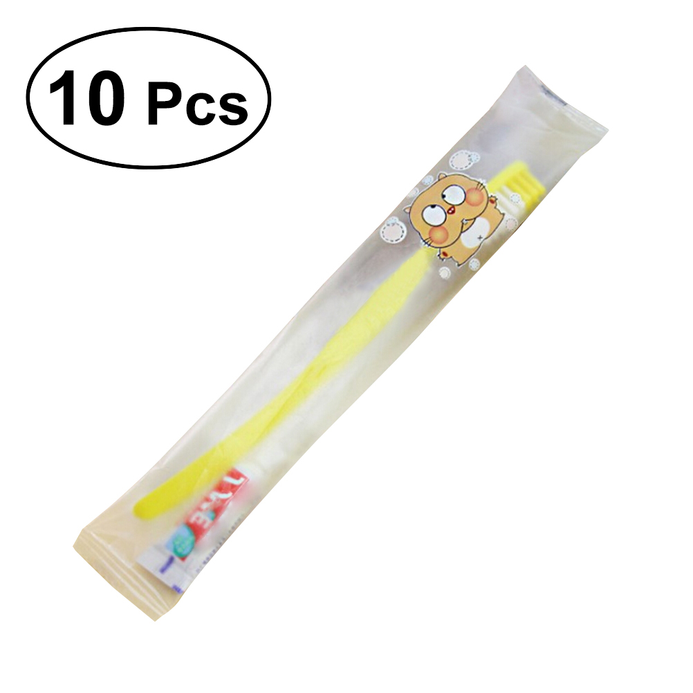 10pcs Travel Toothbrush and Toothpaste Set Hotel Disposable Toothbrush Kit (Mixed Colors) image