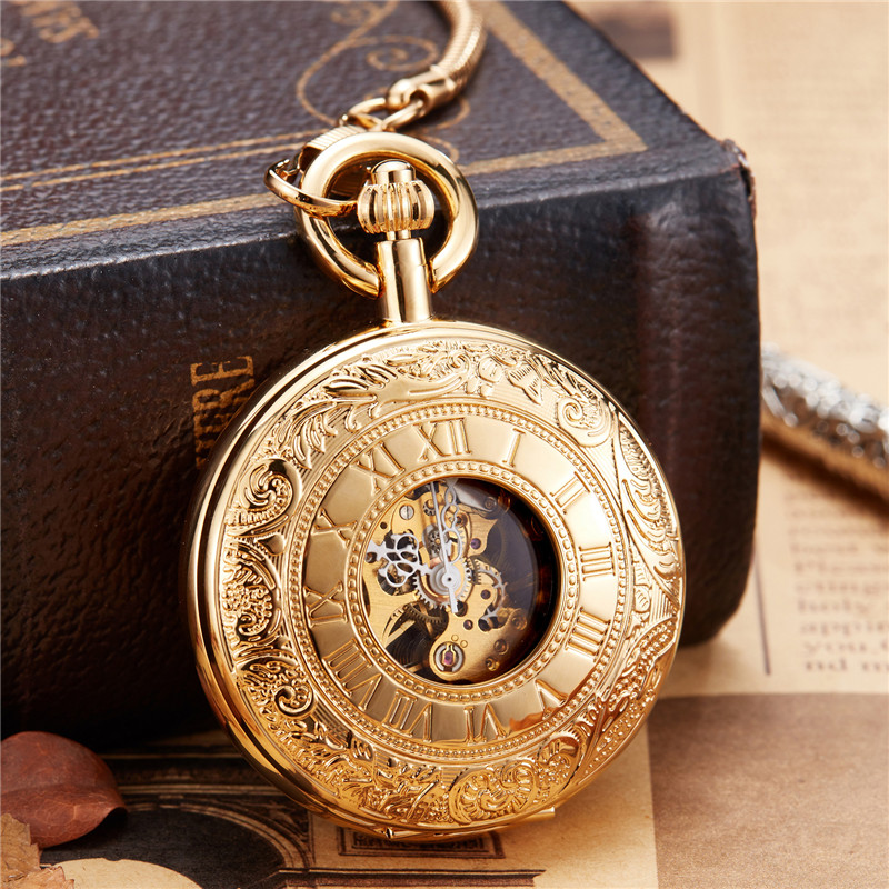 New 2019 Unique Vintage Copper Golden Carved Dial Mechanical Hand Wind Pocket Watch FOB Chain Luxury Men Clock