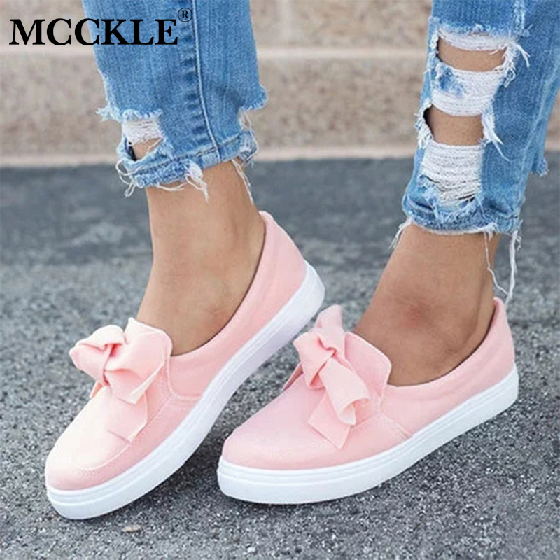 MCCKLE Autumn Casual Flat Plus Size Women Sneakers Ladies Suede Bow Tie Slip On Shallow Vulcanized Shoes Female Flats Footwear lapolaka 2018 spring autumn sweet shallow women ballet flats bow beading slip on shoes woman big size 33 43 casual footwear