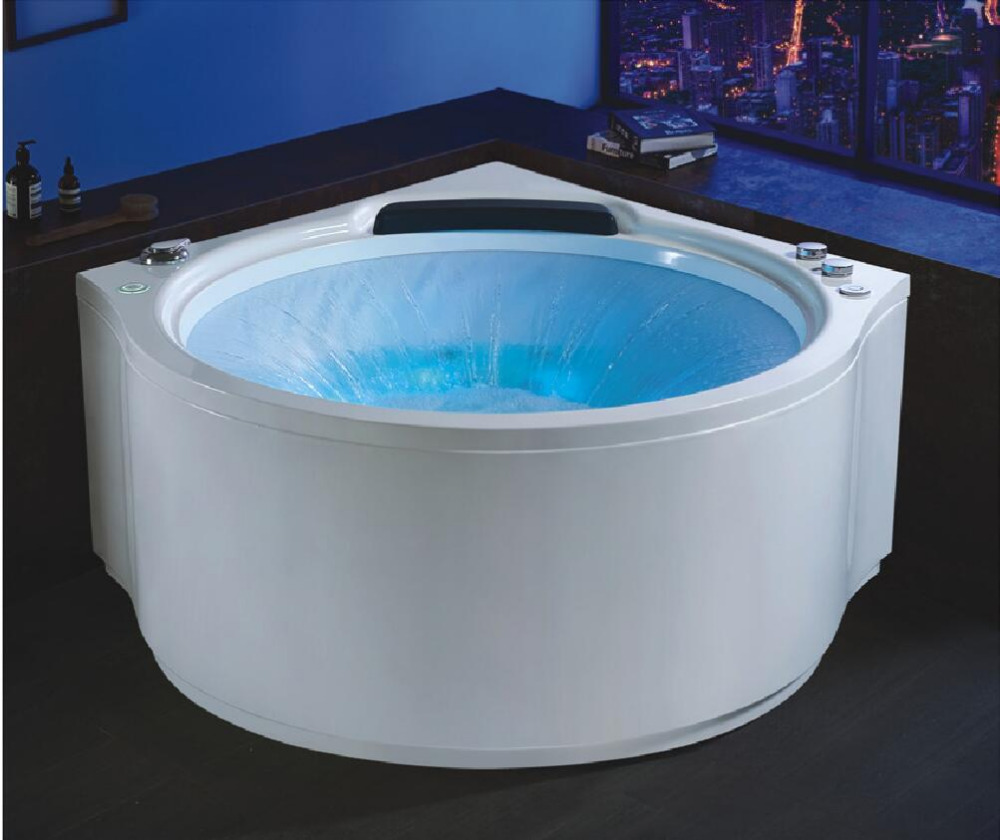1400X1400mm Wall Cornor Fiberglass Surfing whirlpool Bathtub Acrylic Hydromassage Waterfall Tub NS1103