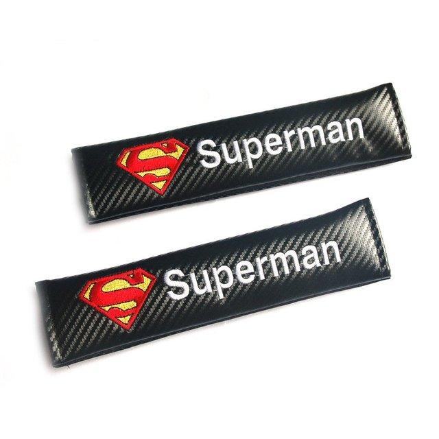 2 unids Superman Hombros Del Cinturón de seguridad de Coche de la Fibra de Carbono Almohadilla Cubierta Del Carro