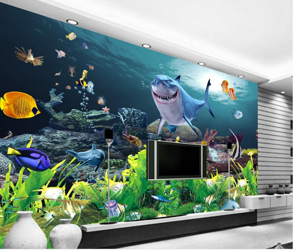 online get cheap shark murals aliexpress com alibaba group 3d wallpaper for room shark underwater world dolphin sofa background wall mural 3d wallpaper china