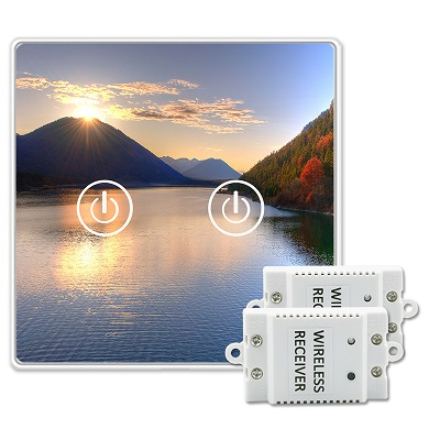 все цены на 2 Gang 2 Way Remote Control Touch Switch Painting DIY Glass Design Wireless Touch Switch онлайн