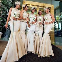 New Mermaid Bride Maid Dress 2017 Satin Lace Elegant Dresses for Wedding Guests Long Bridesmaid Gowns vestidos de madrinha