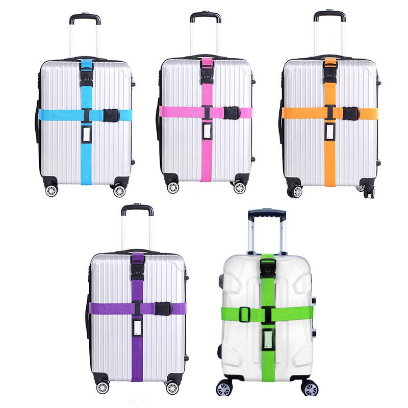 Luggage Strap Cross Belt Packing Adjustable Travel Suitcase Nylon 3 Digits Password Lock Buckle Strap Baggage Belts LBY2