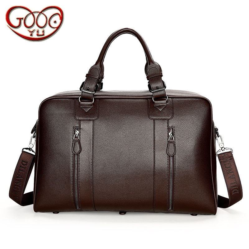 Men's PU leather large-capacity portable business travel bag short-distance travel waterproof, security zipper solid color lugga new playeagle waterpoof pu leather golf boston bag golf clothing bag large capacity travel bag with shoes pocket oem logo