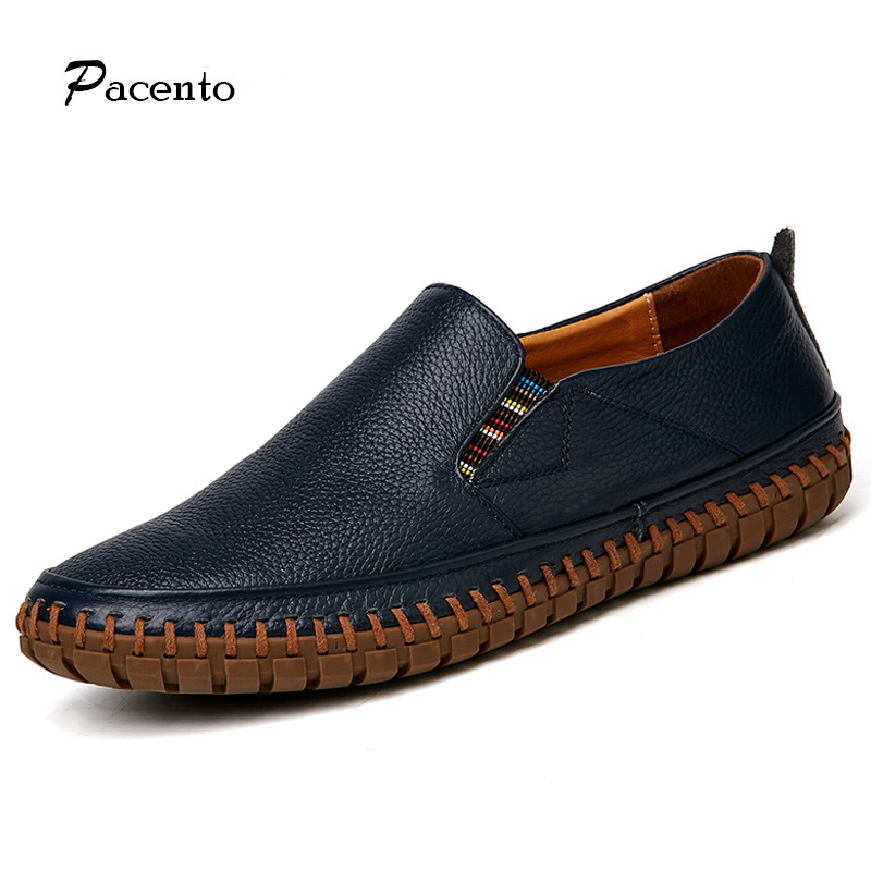 PACENTO Handmade Genuine Leather Shoes Men Designer Slip on Shoes Real Leather Loafers Mens Moccasins Shoes Big Size Zapatos pl us size 38 47 handmade genuine leather mens shoes casual men loafers fashion breathable driving shoes slip on moccasins