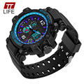 TTLIFE Analog Dual Display Clock Mens Watches Sports Military Wrist Watches Men Resin Strap Noctilucent Water Resistant Watch