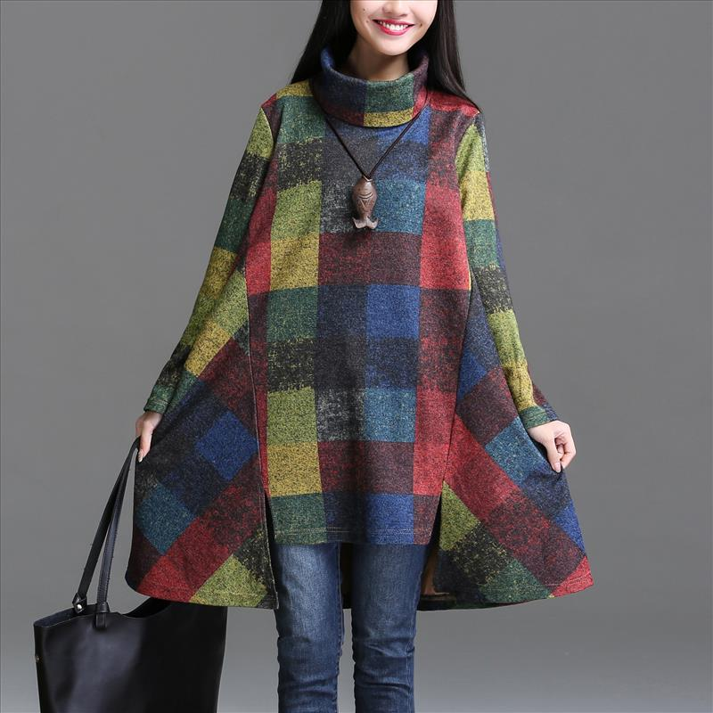 Qbale Plaid Dress Plus Size Women Clothing 2017 Spring Autumn Turtleneck Literary Vintage Asymmetric Mori Girl Long Sleeve Dress